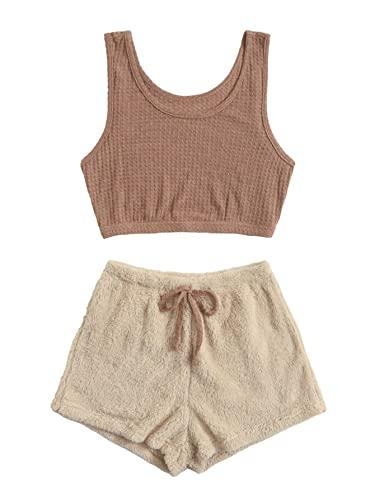 Verdusa Women's Embroidery Tank Top & Teddy Shorts Lounge Pajama Set Brown & Apricot S