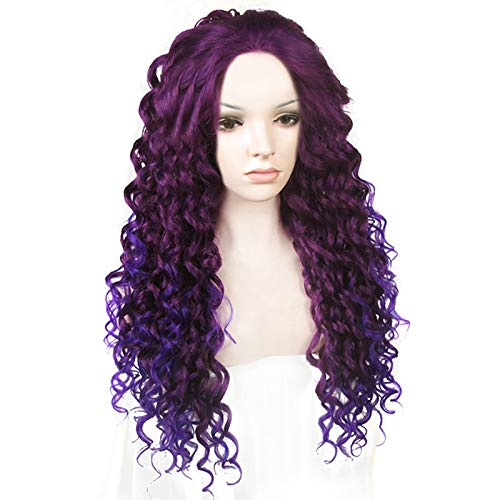 No lace Ebingoo Fashion Purple Ombre Wig Long Curly Wavy Synthetic Party Wigs Heat Resistant Fiber No combs