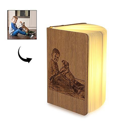 Personalizar Lámpara de Libro de Madera Libro USB Luz Magnética LED Lámpara Portátil Plegable Decorativa Lámpara de Libro Recargable Regalo de Cumpleaños Creativo Día de la Madre Día del Padre (piel)
