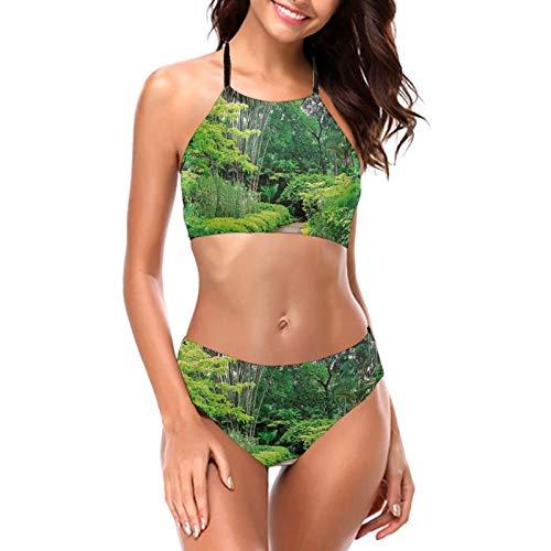 Damen Grünpflanzen Bäume in Singapur Asien Botanic Gardens Neckholder Bikini Bademode High Neck Zweiteiliger Bikini Badeanzüge Gr. L, Schwarz