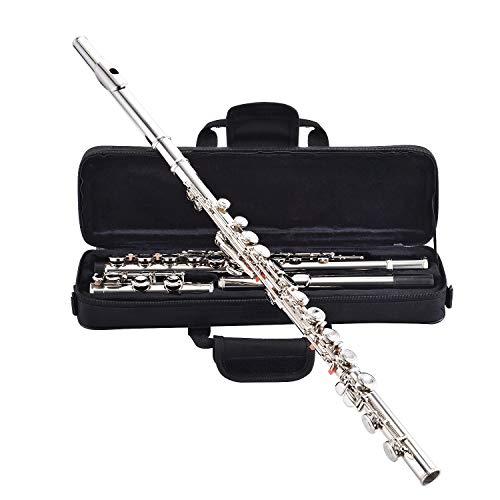 Asmuse Flauta Travesera de Cuproníquel Plata 16 Cerrados Agujeros C Clave Concierto Occidental Instrumento con Cork Grease varilla de Ajuste Paño y Palillo de Limpieza Guantes Destornillador