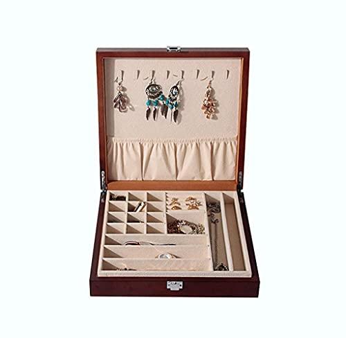 WHZG Caja joyero Caja de joyería Organizador de Caja, bandejas de Almacenamiento de Joyas de Madera Vidrio de Vidrio Collar de Vidrio Pulsera Tenedor de Pantalla Organizador Joyas