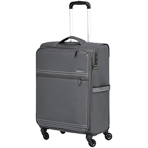 AmazonBasics Lightweight Luggage, Softside Spinner Travel Suitcase with Wheels - 27 Inch, Grey