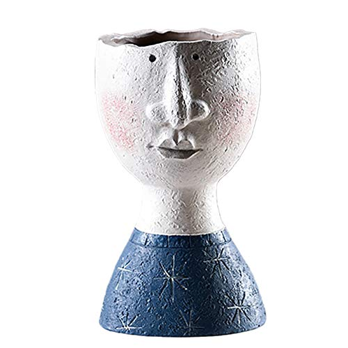 NaisiCore Blumentöpfe, Menschliches Gesicht Skulptur Blumentopf, Harz Portrait Flowerpot Kreative Blumenvase, Indoor Outdoor Statue Blumentopf für Hauptdekoration (Junge, Grün)