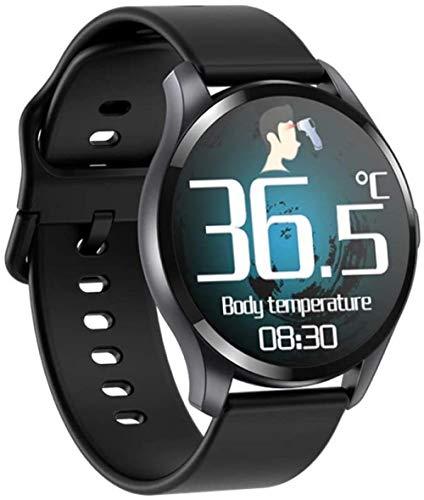 DHTOMC Reloj inteligente 1.3 pulgadas Ip67 impermeable multifunción pulsera HD círculo completo pantalla táctil salud datos vista llamada entrante mensaje recordatorio-negro