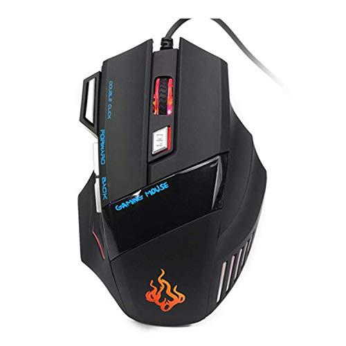 Yowablo Gaming Maus Neue 5500 DPI 7-Tasten-LED-optische USB-Gaming-Mäusemäuse für Pro Gamer Cool (Schwarz)
