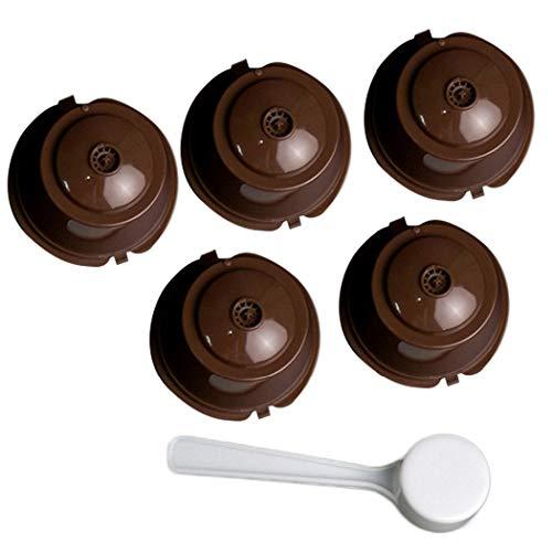 iSuperb 5pcs Filtros Cápsulas de Café Recargable Cápsulas de Café de Plástico Dolce Gusto Capsule Compatible con máquinas originales Nespresso