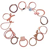 Hair Ties Hair Scrunchies Elastic Hair Bands Pearl Ouchless Ponytail Holders Lucky Bowknot Flower Hair Accessories Hair Rope for Women Girls 13 Pieces Loss-proof Hair Ring Hair Band Set (Pink)