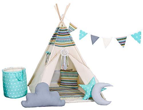 Golden Kids Kinder Spielzelt Teepee Tipi Set für Kinder drinnen draußen Spielzeug Zelt Indianer Indianertipi Tipi mit & ohne Zubehör (mit Zubehör, Apache)