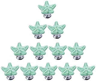 RuiyiF 12 Pack Starfish Knobs for Cabinets, Ceramic Dresser Knobs Hardware Handle Pulls (Green)