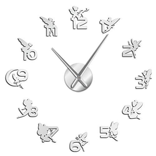 mazhant 3D Hadas mágicas con números Pegatinas de Espejo DIY Reloj de Pared Grande guardería niños Pared Arte niña habitación fantasía Reloj silencioso-47inch
