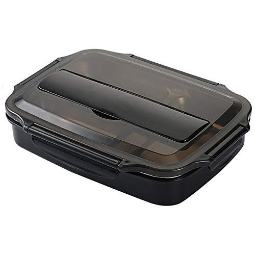 Fiambrera Calidad del acero inoxidable de la caja de almuerzo Contenedores con compartimentos, Portátil Alimentación de contenedores Bento con vajilla (Color : Black)