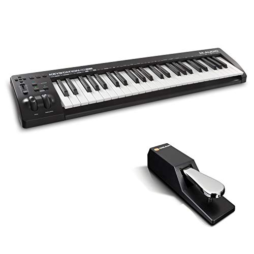 M-Audio Keystation 49MK3 + SP-2  - MIDI Keyboard Controller mit 49 Tasten, zuweisbaren Reglern, Pitch/ Modulation Rädern + Universal Sustain Pedal mit Piano Style Action