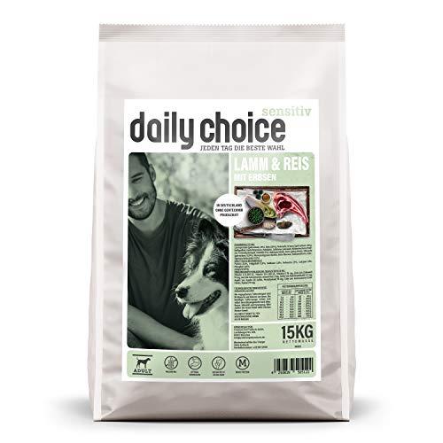 daily choice sensitiv | 15 kg | Trockenfutter für Hunde | Lamm & Reis mit Erbsen | Monoprotein und weizenfrei | Für ernährungssensible Hunde geeignet | Mit Chicorrée und Grünlippmuschel