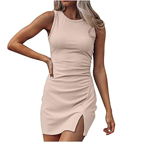 Zzbeans Damen Kleid Kurz Sommer Tank Kleid Ärmellos Sexy Bodycon Kleid mit Schlitz Summer Strickkleider für Damen Slim Eng Minikleid Kurz...