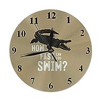 クロコダイルの壁時計どのくらい速く泳ぐことができますか引用野生動物のワニケイマン丸い時計壁の装飾的なサイレントカチカチ音をたてない10インチ25cmPVC素朴なモダンな寝室Multic861