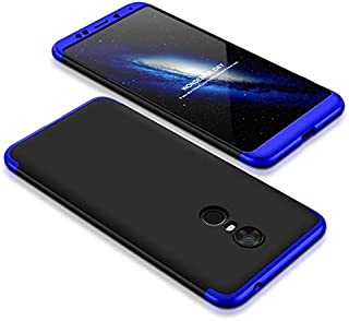 Xiaomi Redmi 5 Plus Case, fashion ultra Slim Gkk 360 Full Protection Cover Case - Black & Blue