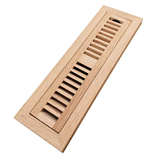 Homewell Red Oak Wood Floor Register Vent Cover, Flush Mount Vent with Damper, 2X12 Inch, Unfinished