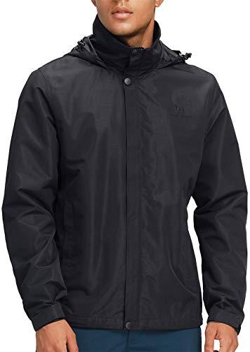 CAMEL CROWN Mens Waterproof Raincoats Jackets Hooded Windbreaker Windproof Coat Lightweight Rain Jacket for Hiking Climbing Camping Skiing Outdoor Black 2XL