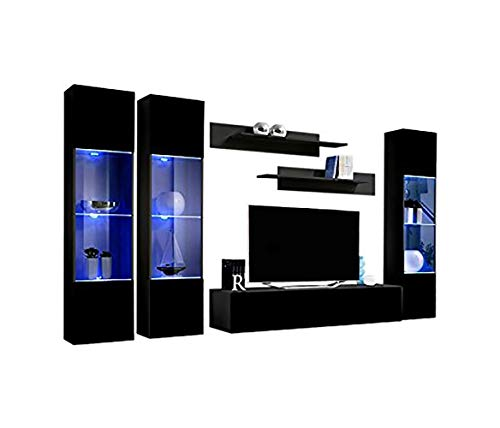 MEBLE FURNITURE & RUGS Wall Mounted Floating Modern Entertainment Center Fly C...