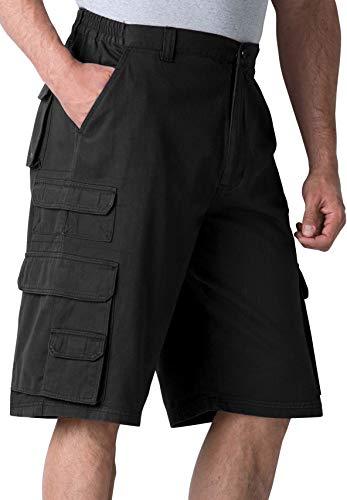 Boulder Creek by Kingsize Men's Big & Tall 12' Side-Elastic Stacked Cargo Pocket Shorts - Big - 50, Black