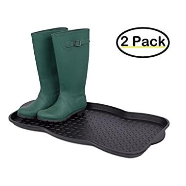 Internet's Best Multi-Purpose Boot & Shoe Tray | 2 QTY | 29.75 x 15 Round | Protects Floors from Water and Dirt | Waterproof for All Weather Indoor or Outdoor Use | Pet Bowl Mat