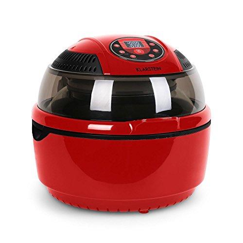 Klarstein VitAir - Freidora de aire caliente, Freidora sin aceite, Asar, Cocer, Placa Halógena, Antiadherente, Capacidad 9L, Potencia 1400W, Programas automáticos, Pantalla LCD, Rojo