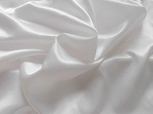 Hermoso tejido sedoso de satén, para costura elaboración de ropa, ideal para elaborar vestidos para bodas, graduaciones, viene por metro, raso, Blanco, 100 x 150 centimeters
