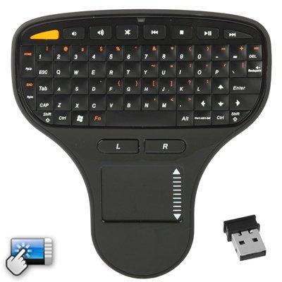 Teclado inalámbrico Mini Teclado N5903 2.4GHz Mini con Panel táctil y USB Mini Receptor, Dimensiones: 137 x 125 x 28 mm (Negro), Mini Teclado inalámbrico