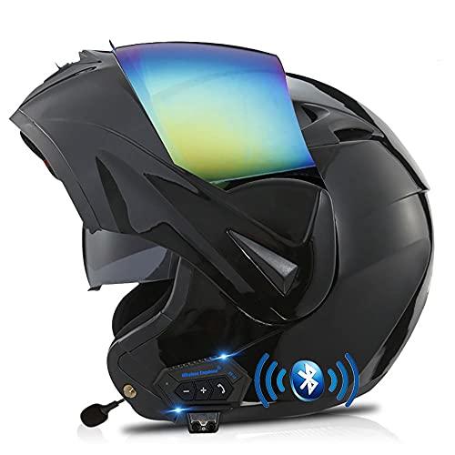 BDTOT Casco para Moto con Bluetooth Cascos Modular Flip Up Motocicleta, Dot/ECER 22-05 Aprobado Doble Visera Anti Niebla HD Reducción de Ruido Altavoz Incorporado para Adultos 55-62cm