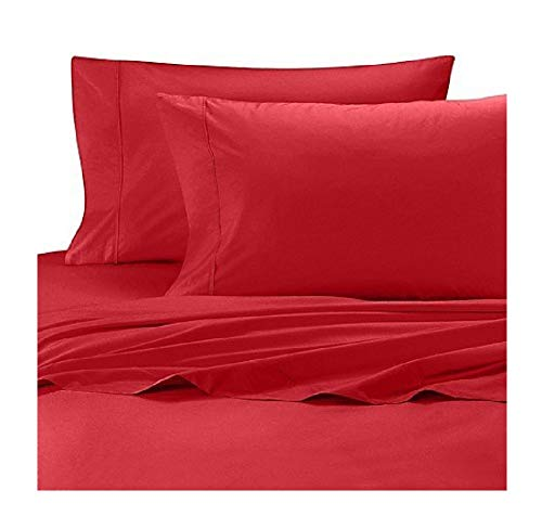 Wamsutta Cool Touch Percale Cotton Twin Fitted Sheet in Red
