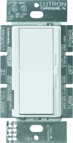 Lutron DVELV-303P-WH 300-Watt Diva Electronic Low Voltage 3-Way Dimmer, White