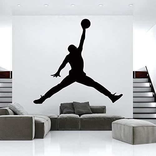 YIYEBAOFU Baloncesto Vinilo Adhesivos de Pared Papel Pintado habitación de los niños decoración del Dormitorio Mural Gimnasio decoración de46x40cm