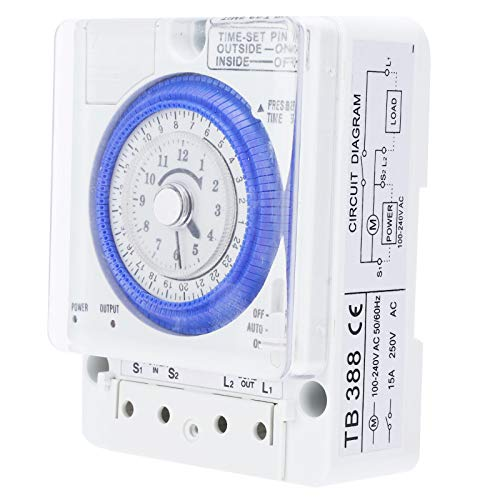 LANTRO JS - TB ‑ 388 AC100‑240V 50/60Hz Interruptor de temporizador digital, Interruptor de tiempo de 24 horas Temporizador de motor paso a paso controlado por cuarzo programable
