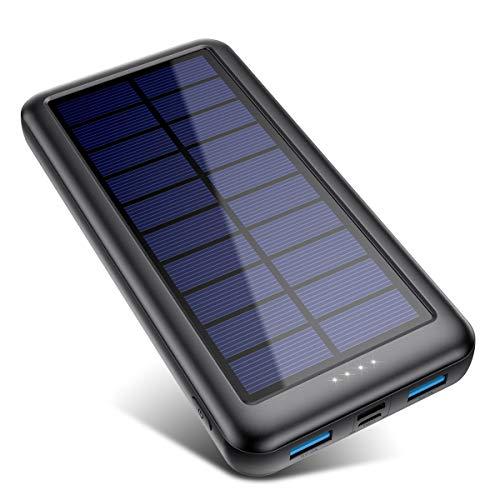 Solar Powerbank 26800mAh?iPosible Neueste S4 Solar Ladegerät?mit USB-C Eingang,Power Bank Externer Akku Akkupack mit 2 Ausgänge Tragbares Ladegerät für Handy Tablet und USB-Geräten, für Camping