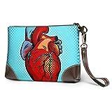 Hdadwy Bolso de mano suave impermeable para mujer, bolso de mano con corazón de anatomía humana ater...