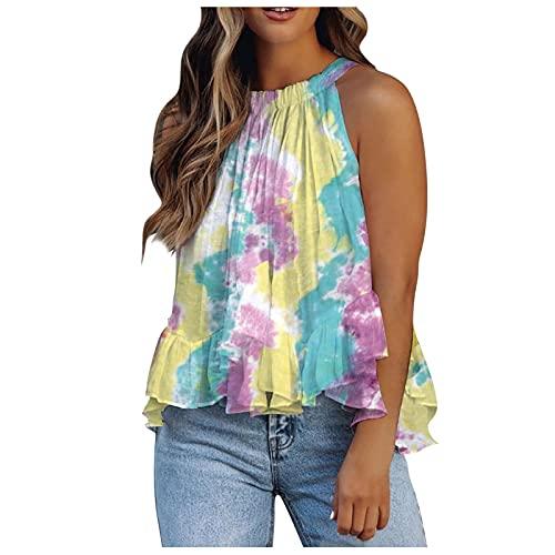 Summer Halter Tank Tops for Women Solid/Floral/Tie Dye Ruffles Hem Sleeveless Shirt Flowy Loose Blouse Tank Shirts
