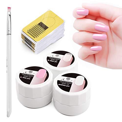 Gel Constructor de 3 Colores Kit para Uñas, Saviland Uñas Esmaltes Semipermanentes UV Set Acrilicas Extension con Pincel Formas y Puntas de Uñas (8g/Caja)