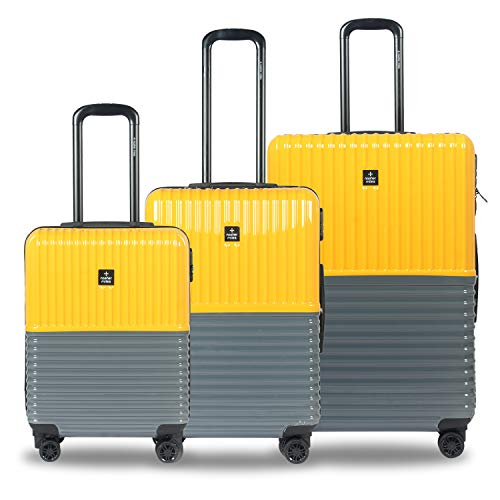 Nasher Miles Istanbul 20, 24, 28 Inch ,Set of 3, Hard-Sided, Polycarbonate Luggage, Yellow and Grey 55 , 65 and 75 cm Trolley Bag