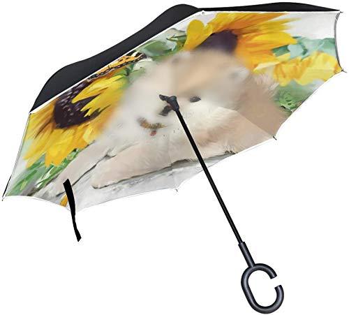 Pomeranian Dog Sunflower A prueba de viento Mango en forma de C A prueba de viento A prueba de rayos UV Viaje al aire libre Sol Coche Paraguas reversible
