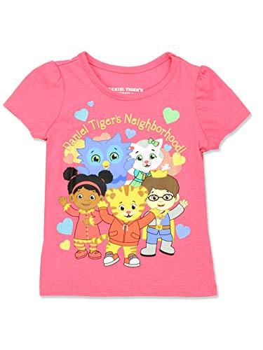 Daniel Tiger Toddler Girls Short Sleeve Tee T-Shirt (3T, Pink/Multi)