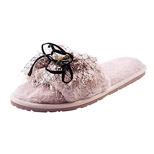 Briskorry Pantuflas planas para mujer, de piel de peluche, cómodas, esponjosas y esponjosas, de piel sintética, antideslizantes, cómodas zapatillas para mujer
