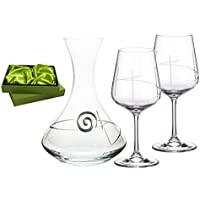 Juego 2 vino copas con decantador tallado a Mano cristal Bohemia