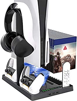 Cooling Station for PS5 Console PlayStation 5 Vertical Stand with Cooling Fan Indicator Lamps Console Station and Dual PS5 Controller Charging Station Dock.