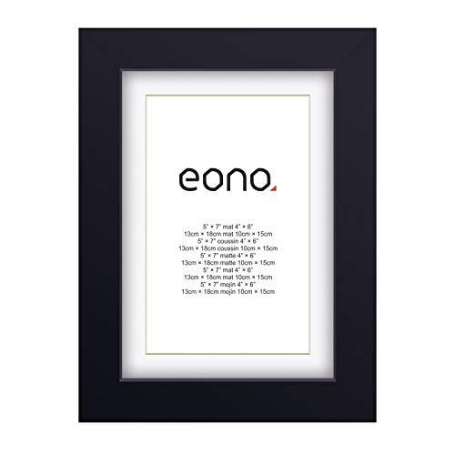 Eono by Amazon - Marco de Fotos de Madera Maciza y Cristal de Alta Definición para Pared Fotos de 10x15 cm con paspartú y de 13x18 cm sin paspartú Negro