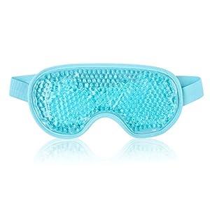 NEWGO®Eye Mask Cooling Reusable Hot Cold Compress Gel Beads Eye Mask for Puffy Eyes, Dark Circles, Migraine, Headache, Stress Relief, Sinus Pain - Light Blue by Newgo