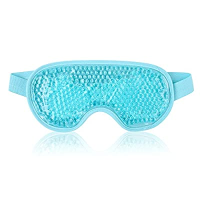 NEWGO®Eye Mask Cooling Reusable Hot Cold Compress Gel Beads Eye Mask for Puffy Eyes, Dark Circles, Migraine, Headache, Stress Relief, Sinus Pain - Light Blue by Newgo