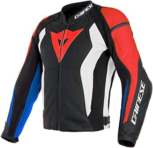 Dainese - Chaqueta de moto con protectores Nexus de piel para hombre, color negro, rojo, blanco y azul 54 L