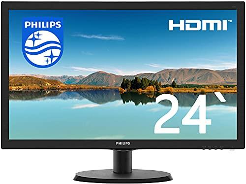 PHILIPS 243V5Q/23.6インチワイド/HDMI液晶モニタ/1920x1080/W-LED システム/フルHD/HDCP/スピーカー内蔵/Switch·PS対応 (整備済み品)