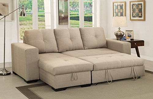 HOMES: Inside + Out Charlton Contemporary Corner Sectional with Pull-Out Sleeper, Ivory